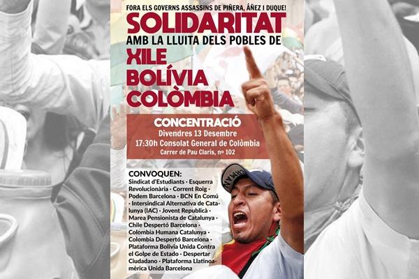 Concentració de solidaritat amb els pobles en lluita de Xile, Bolívia i Colòmbia